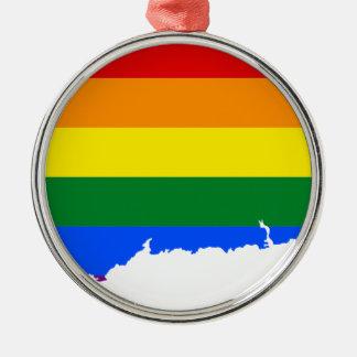 Connecticut LGBT Flag Map Metal Ornament