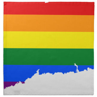 Connecticut LGBT Flag Map Napkin