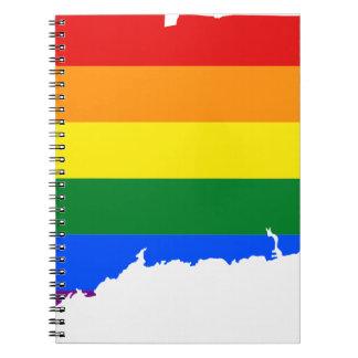 Connecticut LGBT Flag Map Notebook