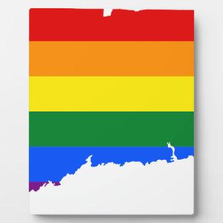 Connecticut LGBT Flag Map Plaque