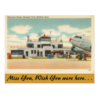 Connecticut, Municipal Airport, Hartford Postcard