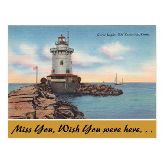 Connecticut, Outer Light, Old Saybrook Postcard