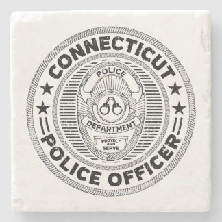 Connecticut Police Officer Stone Coaster