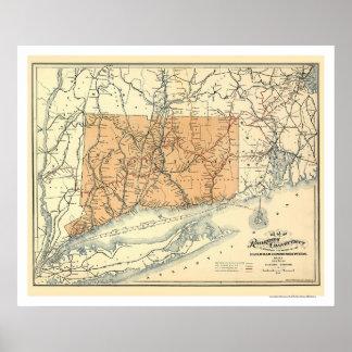 Connecticut Railroad Map 1893 Poster