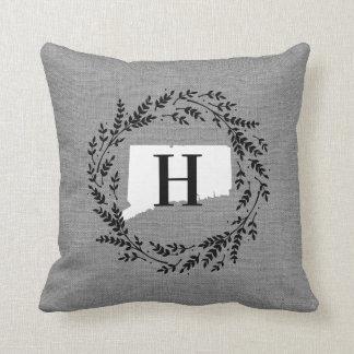 Connecticut Rustic Wreath Monogram Throw Pillow