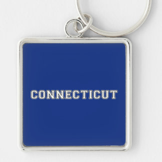 Connecticut Silver-Colored Square Keychain