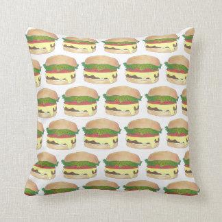 Connecticut Style Steamed Burger Cheeseburger Throw Pillow
