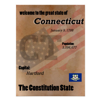 Connecticut The Constitution State Classic Poster