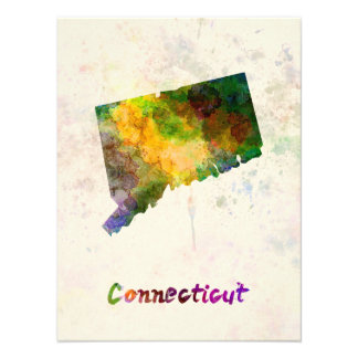 Connecticut U.S. state in watercolor Photo