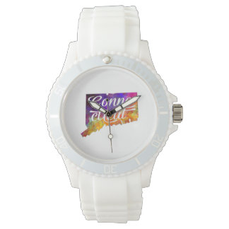 Connecticut U.S. State in watercolor text cut Wrist Watches
