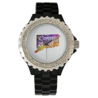 Connecticut U.S. State in watercolor text cut Wristwatch
