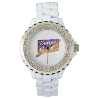 Connecticut U.S. State in watercolor text cut Wristwatches