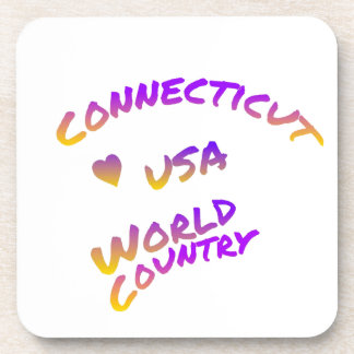 Connecticut usa world country, colorful text art coaster