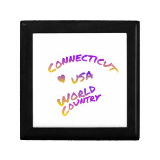Connecticut usa world country, colorful text art keepsake box