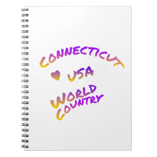 Connecticut usa world country, colorful text art notebook