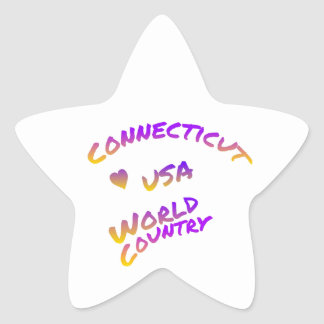 Connecticut usa world country, colorful text art star sticker