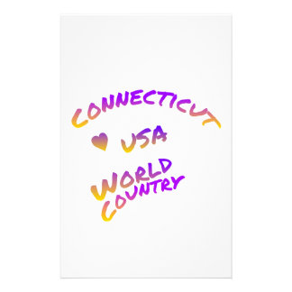 Connecticut usa world country, colorful text art stationery