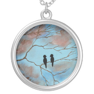 Connections Round Pendant Necklace Painting