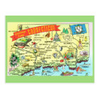 Conneticut State Map Postcard