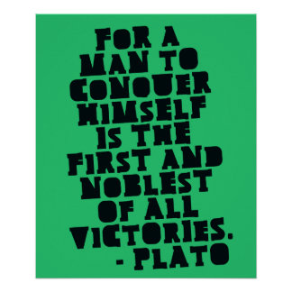 CONQUER HIMSELF - Motivational Plato quote Poster