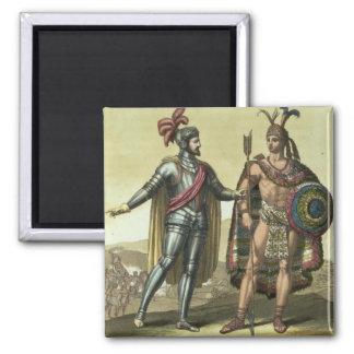 Conquistador with a Native American Chief (colour Fridge Magnets