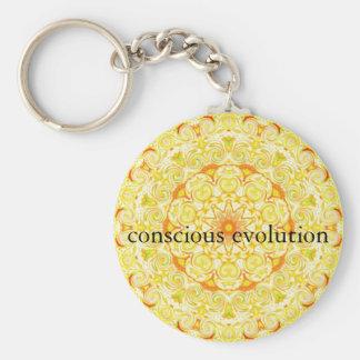 conscious evolution t-shirt basic round button keychain