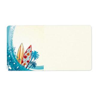 Conseil d'océan et de surf étiquette d'expédition