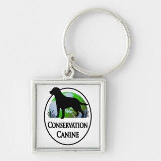 Conservation Canines Gear Silver-Colored Square Keychain