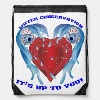 Conservation Water logo Marathon Drawstring Bags