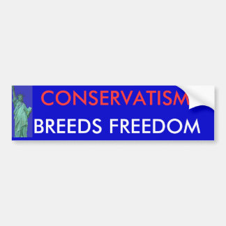 CONSERVATISM , BREEDS FREEDOM BUMPER STICKER