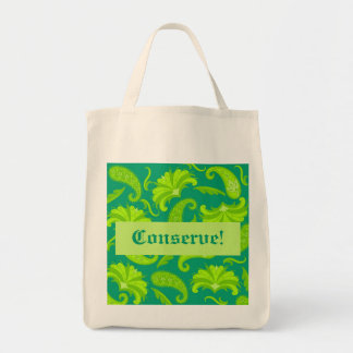 Conserve Lime Green & Teal  Paisley Tote Bag