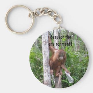 Conserve Nature Basic Round Button Keychain
