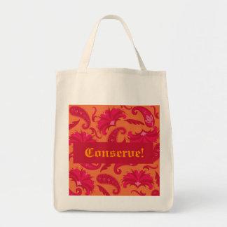 Conserve Red & Orange Parisian Paisley Tote Bag