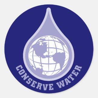 Conserve Water Classic Round Sticker