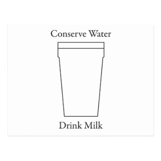 Conserve Water Drink MILK Postcard