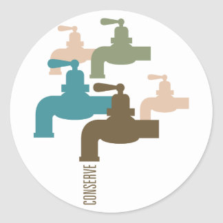 Conserve Water Faucet Classic Round Sticker