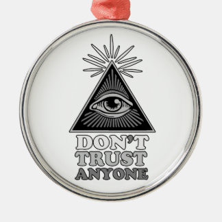 Conspiracy theory metal ornament