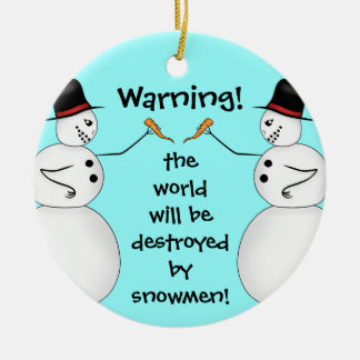 Conspiracy theory snowmen ceramic ornament