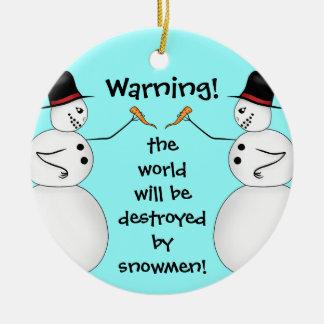 Conspiracy theory snowmen round ceramic ornament