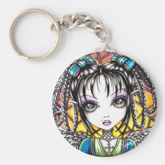 Constance Stained Glass Angel Keychain