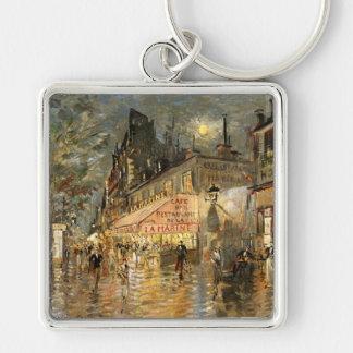 Constantin Korovin: Cafe La Marine, Paris Silver-Colored Square Keychain