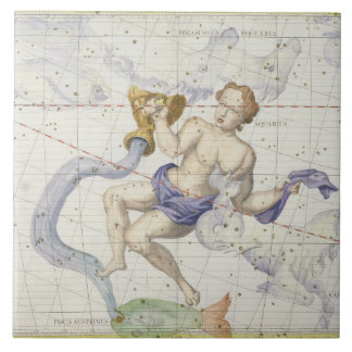 Constellation of Aquarius, plate 9 from 'Atlas Coe Ceramic Tile