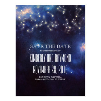 Constellation Starry Night Sky Save the Date Postcard