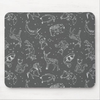 Constellations Night Star Sky Grey / Andrea Lauren Mouse Pad