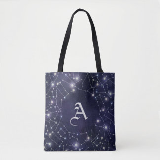 Constellations | Silver Monogram Tote Bag