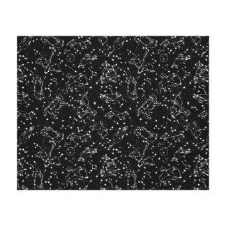 Constellations Zodiac / Black/White /Andrea Lauren Canvas Print