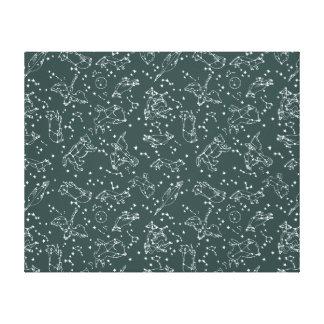 Constellations Zodiac / Grey Green / Andrea Lauren Canvas Print