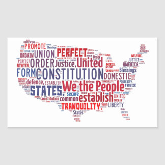 Constitution of the United States in Shape of USA Sticker
