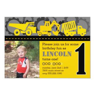 "Construction 1st Birthday 5"" X 7"" Invitation Card"
