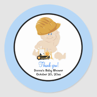 Construction Baby with Backhoe Round Favor Sticker